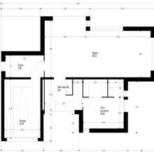 Plan rez-de-chaussée maison moderne cubique détails design