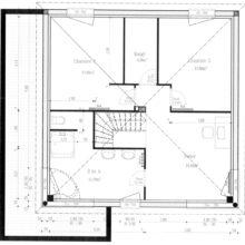 Plan étage maison moderne grand angle