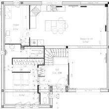 Plan rez de chaussée maison moderne grand angle